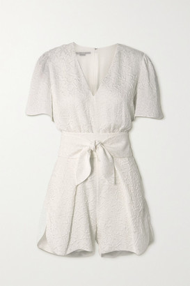 Stella McCartney Lila Belted Silk-blend Cloque Playsuit - White
