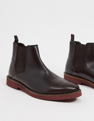ASOS DESIGN chelsea boots in brown leather with contrast sole