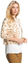 Chico's Cheetah Lace-Hem Charlee Cardigan