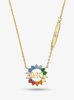 Michael Kors 14K Gold-Plated Sterling Silver Rainbow Logo Necklace