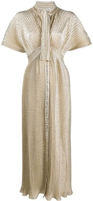 Paco Rabanne Plisse Metallic-Knit Dress