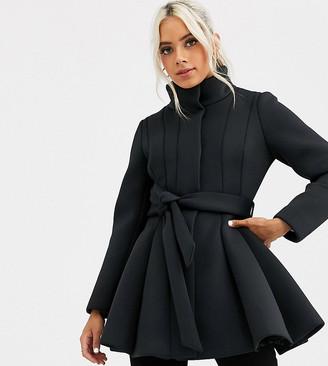Asos DESIGN Petite scuba panelled skater coat in black