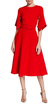 Oscar de la Renta Wool-Blend Belted Midi Dress