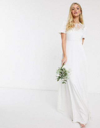 Y.A.S wedding maxi dress with lace detail in white