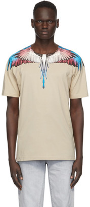 Marcelo Burlon County of Milan Beige and Burgundy Wings T-Shirt