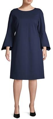 Lafayette 148 New York Plus Bell-Sleeves Shift Dress