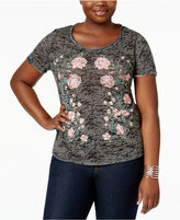 INC International Concepts Plus Size Embellished Burnout T-Shirt, Only at Macy's