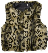 Per Baby Faux Fur Vest with Leopard Pattern Design