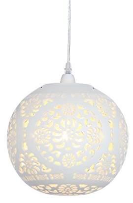 Illuminate Aleppo Globe Beautiful Easy Fit Pendant With Unique Cut Out Pattern, Ceramic, Cream