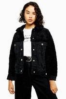 Topshop Womens Petite Hybrid Borg Denim Jacket - Washed Black