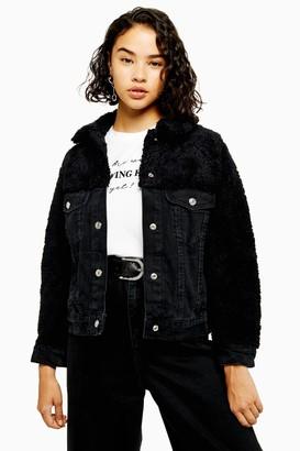 Topshop Womens Petite Hybrid Borg Denim Jacket - Washed Black