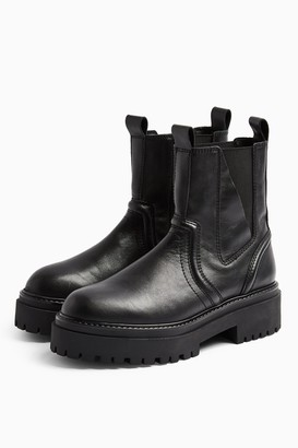 Topshop Womens Albie Black Leather Chunky Chelsea Boots - Black