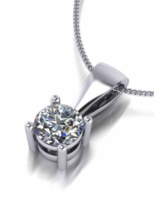 Moissanite Platinum 5mm 0.5ct Pendant And Chain