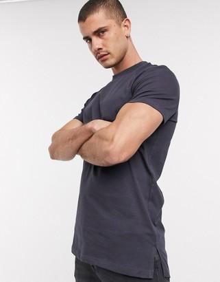 ASOS DESIGN longline t-shirt with side splits in washed black