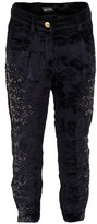 Roberto Cavalli Black Velvet Beaded Trousers