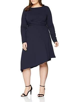 LOST INK PLUS Women's Dress with Cross TIE Waist Asymmetrical Plain Long Sleeve Skirt,(Manufacturer Size:/XL)