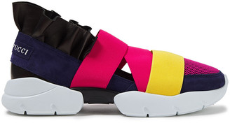 Emilio Pucci Color-block Neoprene, Smooth And Lizard-effect Leather Slip-on Sneakers