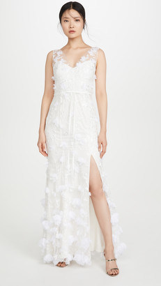 Marchesa Notte V Neck Embroidered Gown with 3D Chiffon Flowers and Front Slit