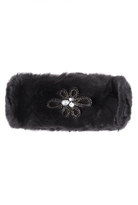 Quiz Black Faux Fur Jewel Headband