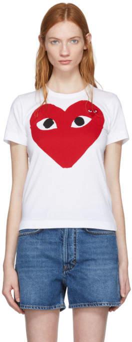 Comme des Garcons White Large Double Heart T-Shirt