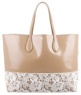Rochas Lace & Patent Leather Tote