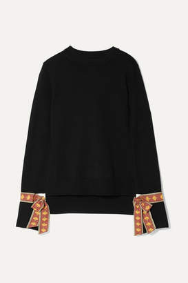 Oscar de la Renta Jacquard-trimmed Merino Wool And Silk-blend Sweater - Black