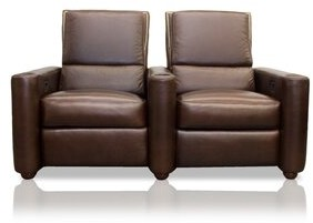 Bass Barcelona Home Theater Row seating Lounger (Row of 2 Motion Type: Not Motorized, Leg Color: Beech, Cup holder Detail: Black cup holders