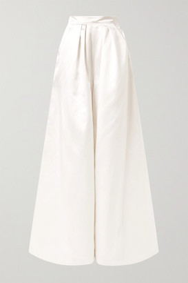 Halfpenny London Houston Pleated Duchesse-satin Wide-leg Pants - White