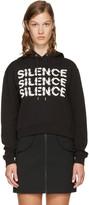 McQ Black Cropped 'Silence' Hoodie
