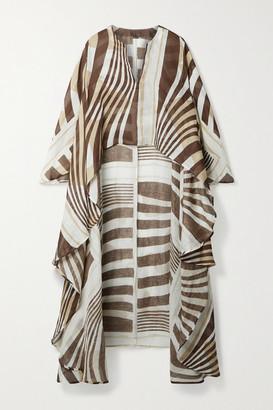 Cult Gaia Goldie Asymmetric Printed Linen And Silk-blend Kaftan - Brown