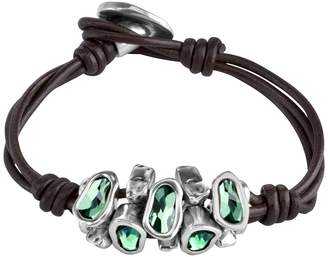 Uno de 50 Instinct Bezel Set Swarovski Element Accented Multi-Strand Leather Bracelet