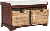 One Kings Lane Candela Storage Bench - Cherry - frame, cherry; upholstery, white; baskets, natural