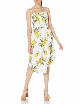Moon River Women's Lemon Print Midi Dress