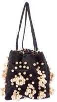 Oscar de la Renta Pearl-Embellished Satin Evening Bag