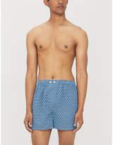 Derek Rose Mens Navy Blue Classic Fit Mosaic Patterned Cotton Boxers