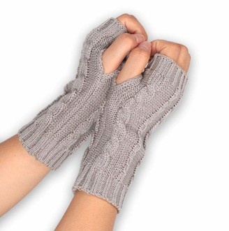 Davicher Women Fingerless Gloves Winter Arm Fingerless Gloves with Thumb Hole Mitten Wrists Wool Knitted Warmers Arm Gloves for Ladies Girls Women