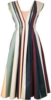 Paule Ka striped pleated dress - women - Cotton/Polyester/Polyimide - 36