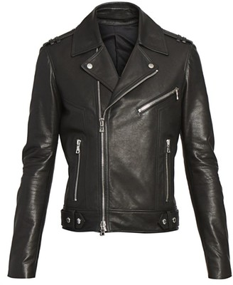 Balmain Stamped Leather Moto Jacket
