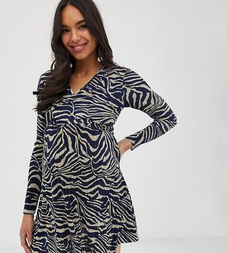 Asos Maternity   Nursing ASOS DESIGN Maternity exclusive nursing mini plisse skater dress with crop layer in animal print
