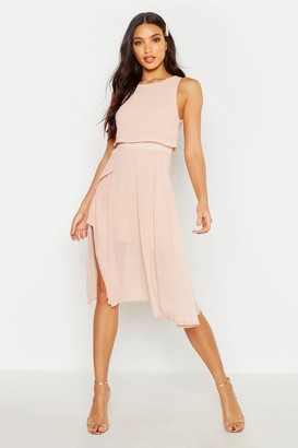 boohoo Chiffon Layered Midi Skater Bridesmaid Dress