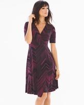Soma Intimates Elbow Sleeve Faux Wrap Short Dress Lagoon Marsala