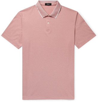 Theory Contrast-Tipped Pima Cotton-Blend Pique Polo Shirt