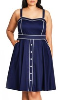 City Chic Plus Size Women's Darling Contrast Piped Fit & Flare Sundress