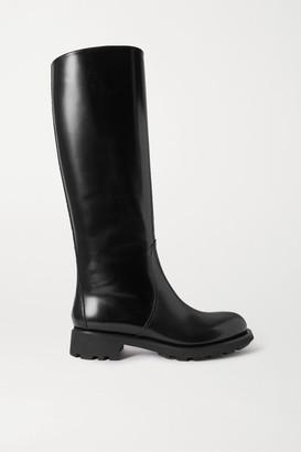 Prada 40 Glossed-leather Knee Boots - Black