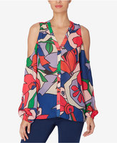 Catherine Malandrino Catherine Printed Cold-Shoulder Blouse