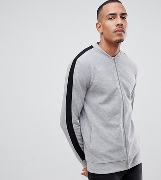 Asos DESIGN Tall jersey rib bomber jacket with side stripe in gray