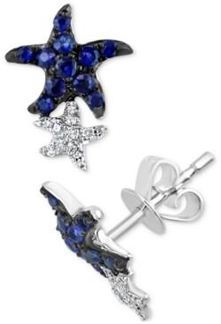 Effy Sapphire (3/8 ct. t.w.) & Diamond (1/10 ct. t.w.) Starfish Stud Earrings in 14k White Gold