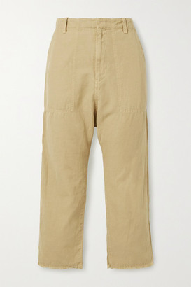 Nili Lotan Luna Cropped Cotton And Linen-blend Twill Tapered Pants - Sand