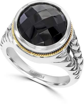 Effy Sterling Silver & 18K Gold Onyx Ring - Size 7