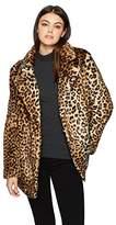 J.o.a. Women's Leopard Print Faux Fur Coat